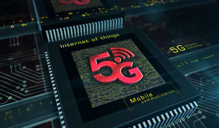 5G mobile communication technology and internet of things metal symbols. Abstract concept 3d rendering illustration. Reklamní fotografie