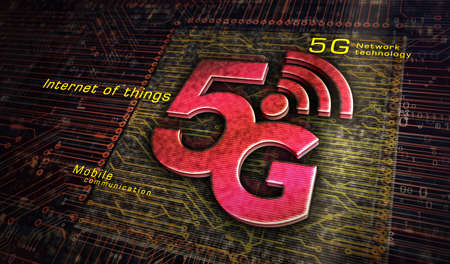 5G mobile communication technology and internet of things metal symbols. Abstract concept 3d rendering illustration. Reklamní fotografie - 154368826