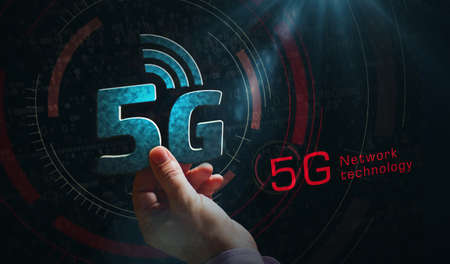 5G mobile communication technology and internet of things metal symbols. Abstract concept 3d rendering illustration. Reklamní fotografie - 154368828