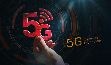 5G mobile communication technology and internet of things metal symbols. Abstract concept 3d rendering illustration. Reklamní fotografie - 154368829