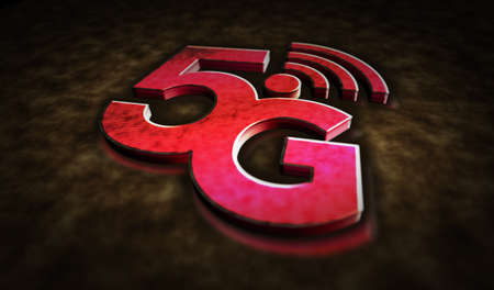 5G mobile communication technology and internet of things metal symbols. Abstract concept 3d rendering illustration. Reklamní fotografie - 154368842