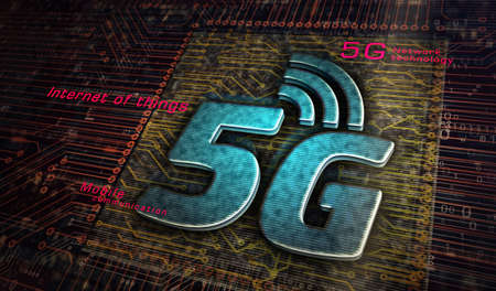 5G mobile communication technology and internet of things metal symbols. Abstract concept 3d rendering illustration. Reklamní fotografie - 154368843