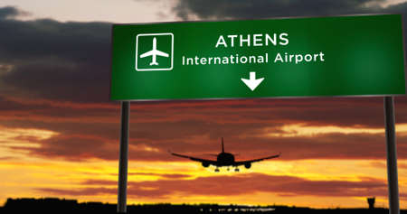 Airplane silhouette landing in Athens, Greece. City arrival with airport direction signboard and sunset in background. Trip and transportation concept 3d illustration. Reklamní fotografie