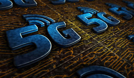 5G mobile communication technology and internet of things metal symbols. Abstract concept 3d rendering illustration. Reklamní fotografie - 154368878