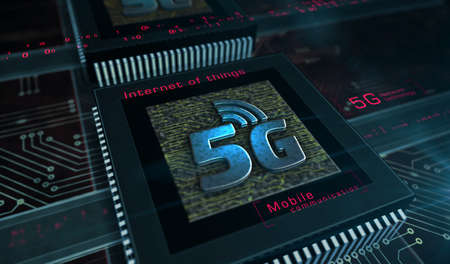 5G mobile communication technology and internet of things metal symbols. Abstract concept 3d rendering illustration. Reklamní fotografie - 154368888