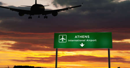 Airplane silhouette landing in Athens, Greece. City arrival with airport direction signboard and sunset in background. Trip and transportation concept 3d illustration. Reklamní fotografie - 154368890