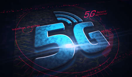 5G mobile communication technology and internet of things metal symbols. Abstract concept 3d rendering illustration. Reklamní fotografie - 154368893