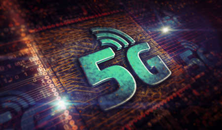 5G mobile communication technology and internet of things metal symbols. Abstract concept 3d rendering illustration. Reklamní fotografie - 154368895