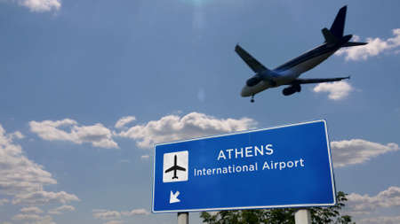Airplane silhouette landing in Athens, Greece. City arrival with international airport direction signboard and blue sky in background. Travel, trip and transport concept 3d illustration. Reklamní fotografie - 154368896
