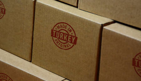 Made in Turkey stamp printed on cardboard box. Factory, manufacturing and production country concept. Reklamní fotografie - 154368901