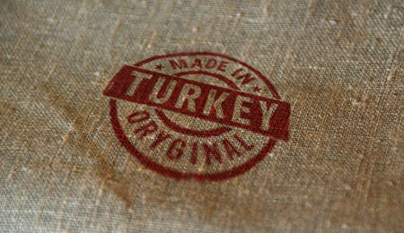 Made in Turkey stamp printed on linen sack. Factory, manufacturing and production country concept. Reklamní fotografie - 154368953