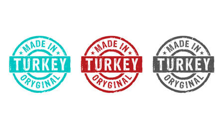 Made in Turkey stamp icons in few color versions. Factory, manufacturing and production country concept 3D rendering illustration. Reklamní fotografie