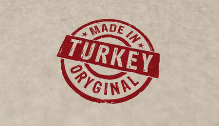 Made in Turkey stamp icons in few color versions. Factory, manufacturing and production country concept 3D rendering illustration. Reklamní fotografie - 154368956