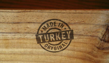 Made in Turkey stamp printed on wooden box. Factory, manufacturing and production country concept. Reklamní fotografie - 154368958