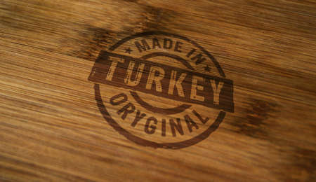 Made in Turkey stamp printed on wooden box. Factory, manufacturing and production country concept.