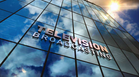 TV broadcast sign on glass building. Television broadcasting, news media and telecommunication concept in 3D rendering illustration. Mirrored sky and city on modern facade. Reklamní fotografie - 154795011