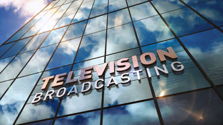 TV broadcast sign on glass building. Television broadcasting, news media and telecommunication concept in 3D rendering illustration. Mirrored sky and city on modern facade. Reklamní fotografie - 154795012