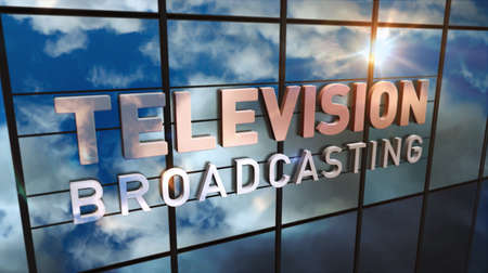 TV broadcast sign on glass building. Television broadcasting, news media and telecommunication concept in 3D rendering illustration. Mirrored sky and city on modern facade. Reklamní fotografie - 154794193