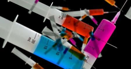 Medical syringes falling, full of drugs or vaccine. Healthcare, science, medicine, health and cure research concept. 3d rendering illustration. Reklamní fotografie - 154753202