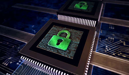 Cyber security, computer protection, digital safety technology with padlock metal symbols. Abstract concept 3d rendering illustration. Reklamní fotografie - 154812049