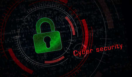 Cyber security, computer protection, digital safety technology with padlock metal symbols. Abstract concept 3d rendering illustration.