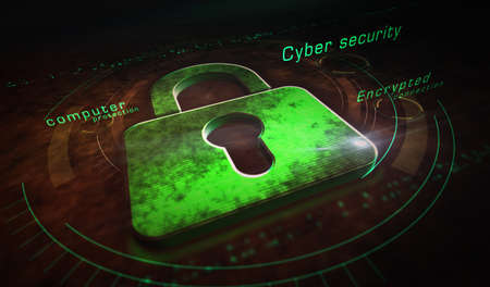 Cyber security, computer protection, digital safety technology with padlock metal symbols. Abstract concept 3d rendering illustration. Reklamní fotografie - 154812132