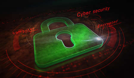Cyber security, computer protection, digital safety technology with padlock metal symbols. Abstract concept 3d rendering illustration. Reklamní fotografie - 154811865