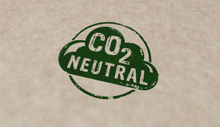 CO2 carbon neutral emission stamp icons in few color versions. Ecology, nature friendly, climate change, green fuel and earth protect concept 3D rendering illustration. Reklamní fotografie