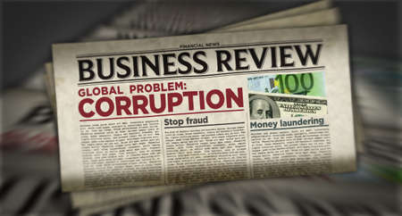 Corruption in business global problem, stop fraud and money laundering news. Daily newspaper print. Vintage paper media press production abstract concept. Retro style 3d rendering illustration. Reklamní fotografie - 154916941