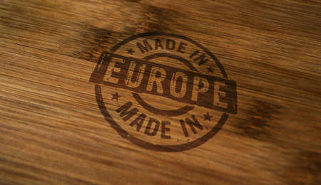 Made in Europe, EU, European Union stamp printed on wooden box. Factory, manufacturing and production country concept. Reklamní fotografie