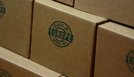 Made in Europe, EU, European Union stamp printed on cardboard box. Factory, manufacturing and production country concept. Reklamní fotografie
