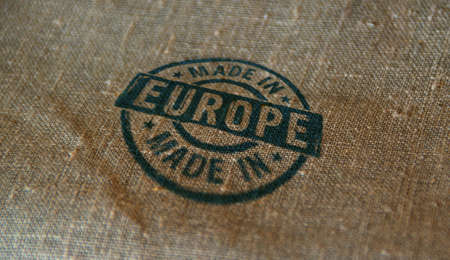 Made in Europe, EU, European Union stamp printed on linen sack. Factory, manufacturing and production country concept.