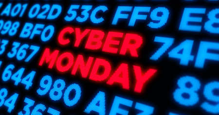 Cyber monday, big sale, mega discount, special offer, shopping and business abstract concept. Display style dynamic 3d illustration with keywords, texts on digital piexl background.