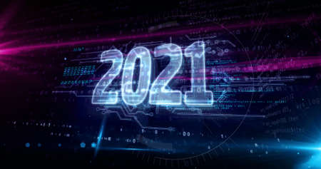 2021 year, new cyber design concept. Futuristic abstract 3d rendering illustration.
