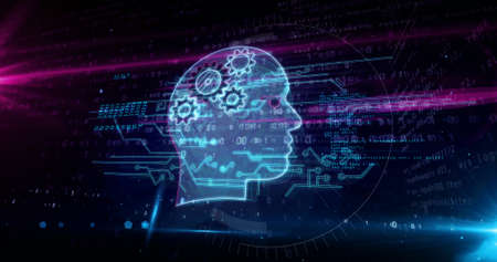 Artificial intelligence, cybernetic brain, cyborg and machine learning concept. Futuristic abstract 3d rendering illustration. Reklamní fotografie