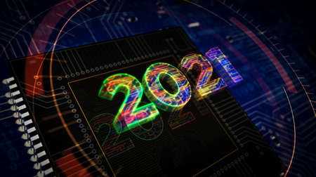 2021 year number futuristic hologram 3D rendering illustration. Abstract concept digital intro background. Reklamní fotografie