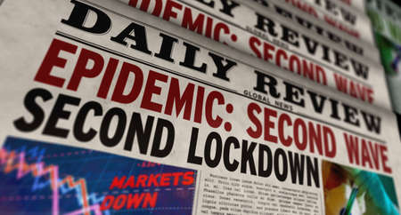 Covid 19 epidemic second wave, lockdown, virus pandemic and global crisis news. Daily newspaper print. Vintage paper media press production abstract concept. Retro style 3d rendering illustration.