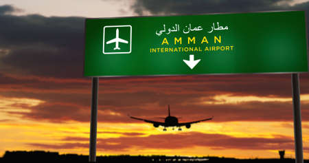 Airplane silhouette landing in Amman, Jordan. City arrival with airport direction signboard and sunset in background. Trip and transportation concept 3d illustration.
