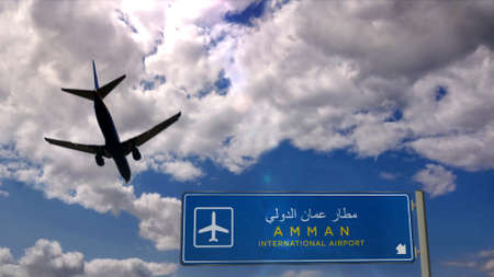 Airplane silhouette landing in Amman, Jordan. City arrival with international airport direction signboard and blue sky in background. Travel, trip and transport concept 3d illustration.