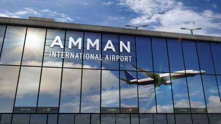 Jet aircraft landing at Amman, Jordan 3D rendering illustration. Arrival in the city with the glass airport terminal and reflection of the plane. Travel, business, tourism and transport concept.