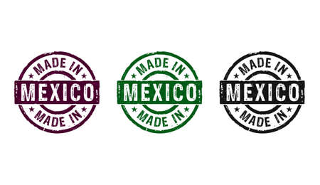 Made in Mexico stamp icons in few color versions. Factory, manufacturing and production country concept 3D rendering illustration. Reklamní fotografie