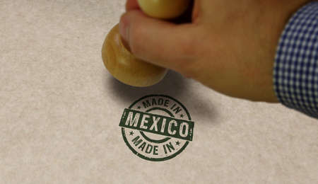 Made in Mexico stamp and stamping hand. Factory, manufacturing and production country concept.
