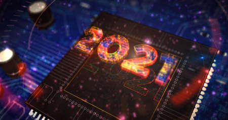2021 year number futuristic hologram 3D rendering illustration. Abstract concept digital background.