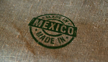 Made in Mexico stamp printed on linen sack. Factory, manufacturing and production country concept. Reklamní fotografie