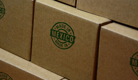 Made in Mexico stamp printed on cardboard box. Factory, manufacturing and production country concept. Reklamní fotografie