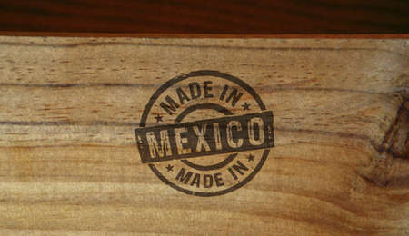 Made in Mexico stamp printed on wooden box. Factory, manufacturing and production country concept.