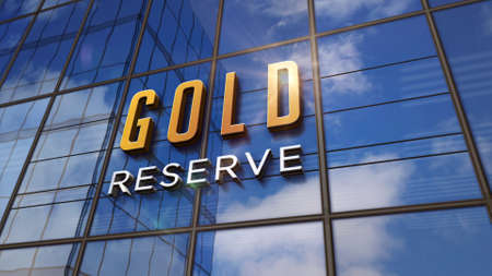 Gold reserve safe bank on glass building. Mirrored sky and city modern facade. Business safety system, economy, capital protection and finance security concept 3D rendering illustration.