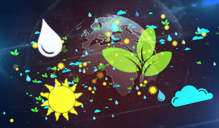 Environment and ecology symbols 3d illustration. Abstract concept background of earth, water, sun, air and nature.