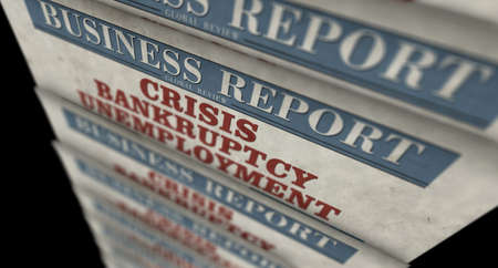 Crisis, bankruptcy and unemployment business news. Daily newspaper print. Vintage paper media press abstract concept. Retro style 3d rendering illustration. Economy and market collapse concept.