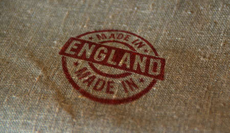 Made in England stamp printed on linen sack. Factory, manufacturing and production country concept. 写真素材
